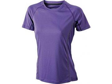 Dámské běžecké tričko s reflexními proužky fialová