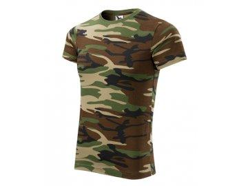 Tričko střední gramáže v barvách camouflage hnědá