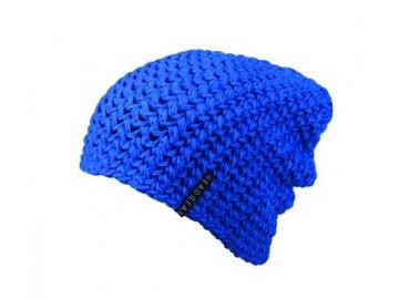 Hrubě háčkovaná nadměrná čepice modrá
