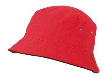 Dětský klobouček s proužkem na okraji v kontrastní barvě z broušené bavlny červený