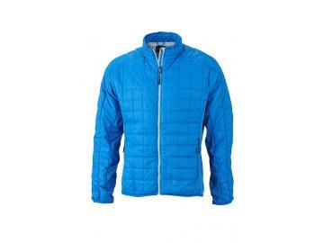 Pánská jarní tenká bunda s módním prošíváním modrá