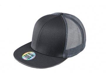 Vzdušná kšiltovka snapback ve vyšším profilu s rovným kšiltem černá šedá