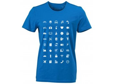 Pánské tričko pro cestovatele WORLD Urban s ikonami modrá