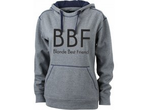 Mikina BBF Blonde Best Friend šedý melír