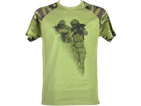 Pánské tričko camouflage s potiskem Voják