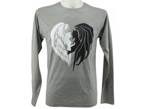 Pánské triko dlouhý rukáv anděl dábel