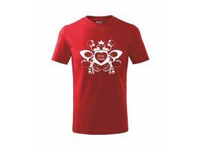 Dětské červené tričko s potiskem KRÁSNÝ VALENTÝN