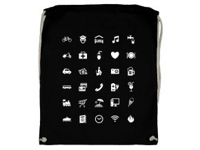 Vak na záda s ikonami WORLD černá