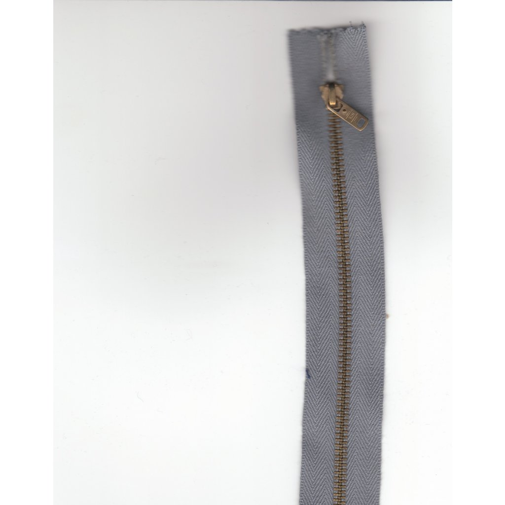 5196 kovovy zip 17cm seda