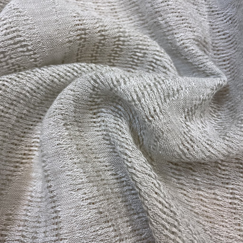 Etamine Len/polyester, transparentní květinový vzor