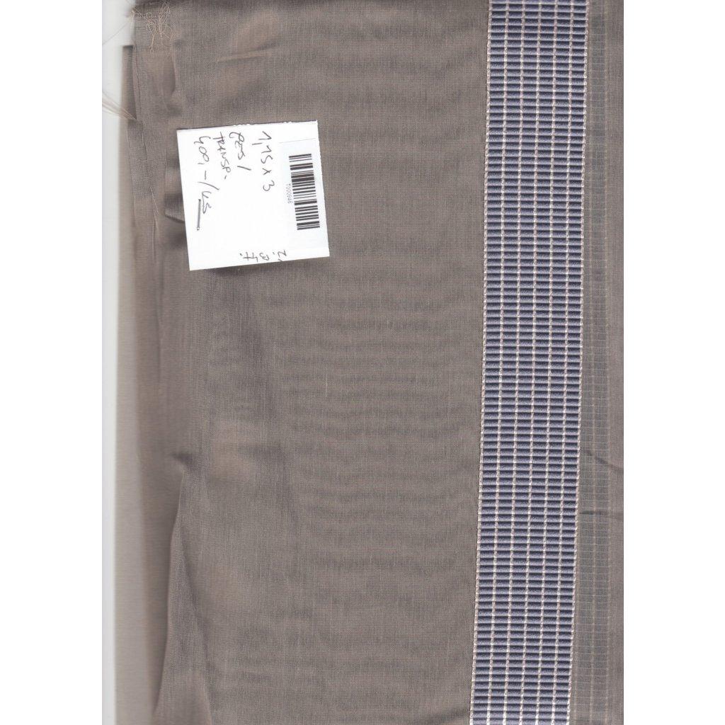 4779 transparentni sedy polyester modra aplikace prouzek