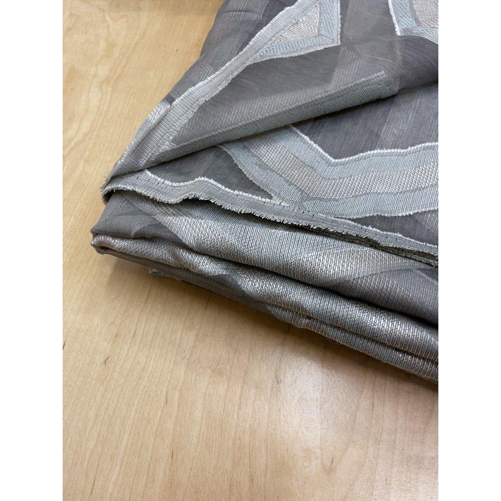3821 sedy polyester transparentni geometricky