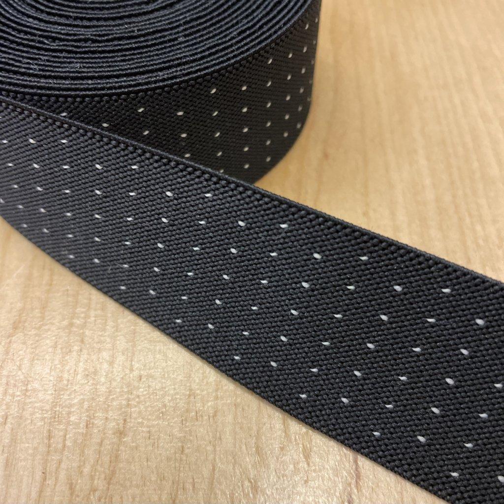 Pruženka černá, tečky, 35mm 2