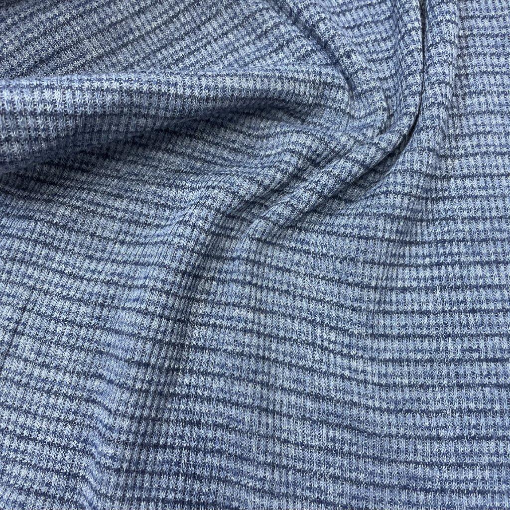 Proužkovaný úplet z Helenína, šedo-modrý proužek 1