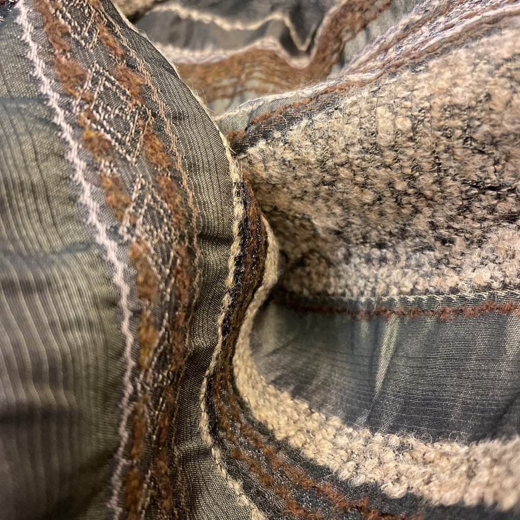Polyesterový lehký taft protkávaný vlnou, hnědý