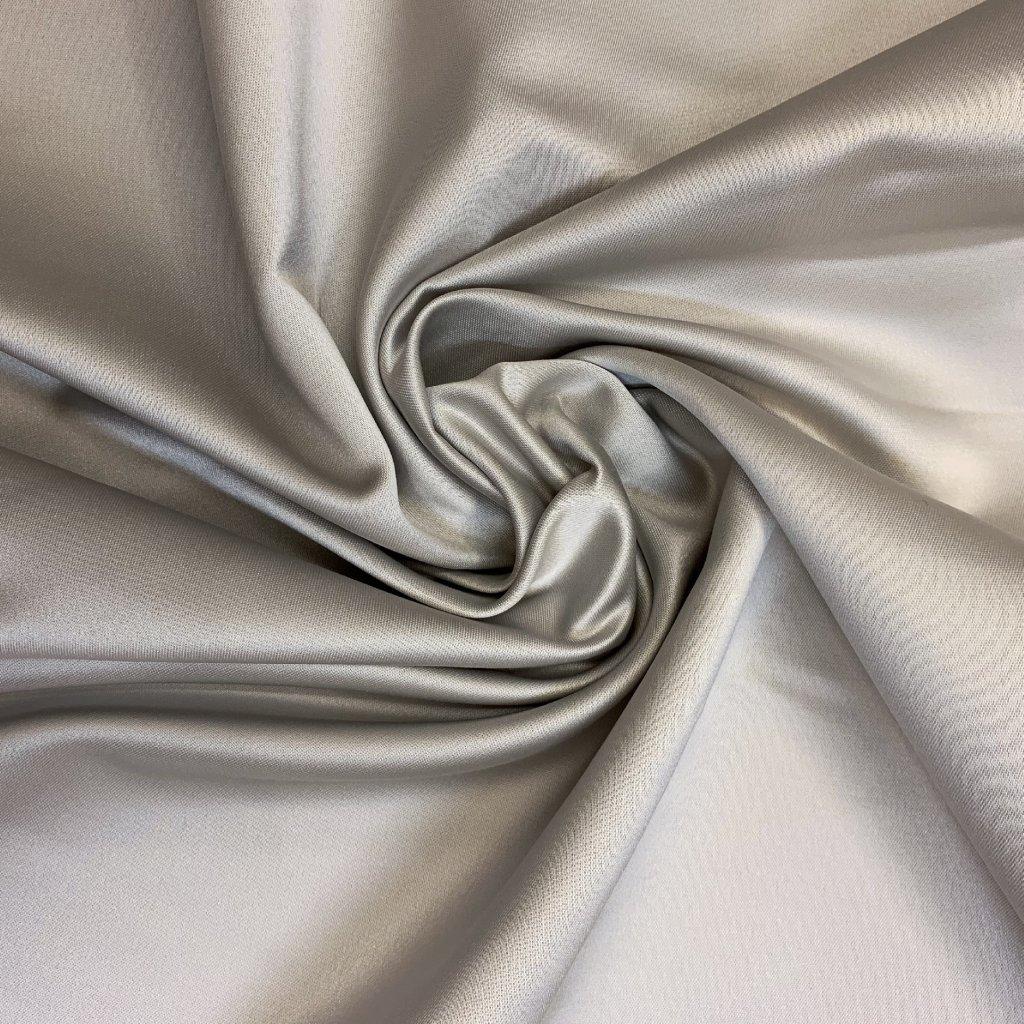 Satén, syntetická vlákna, pevný, sv. šedá