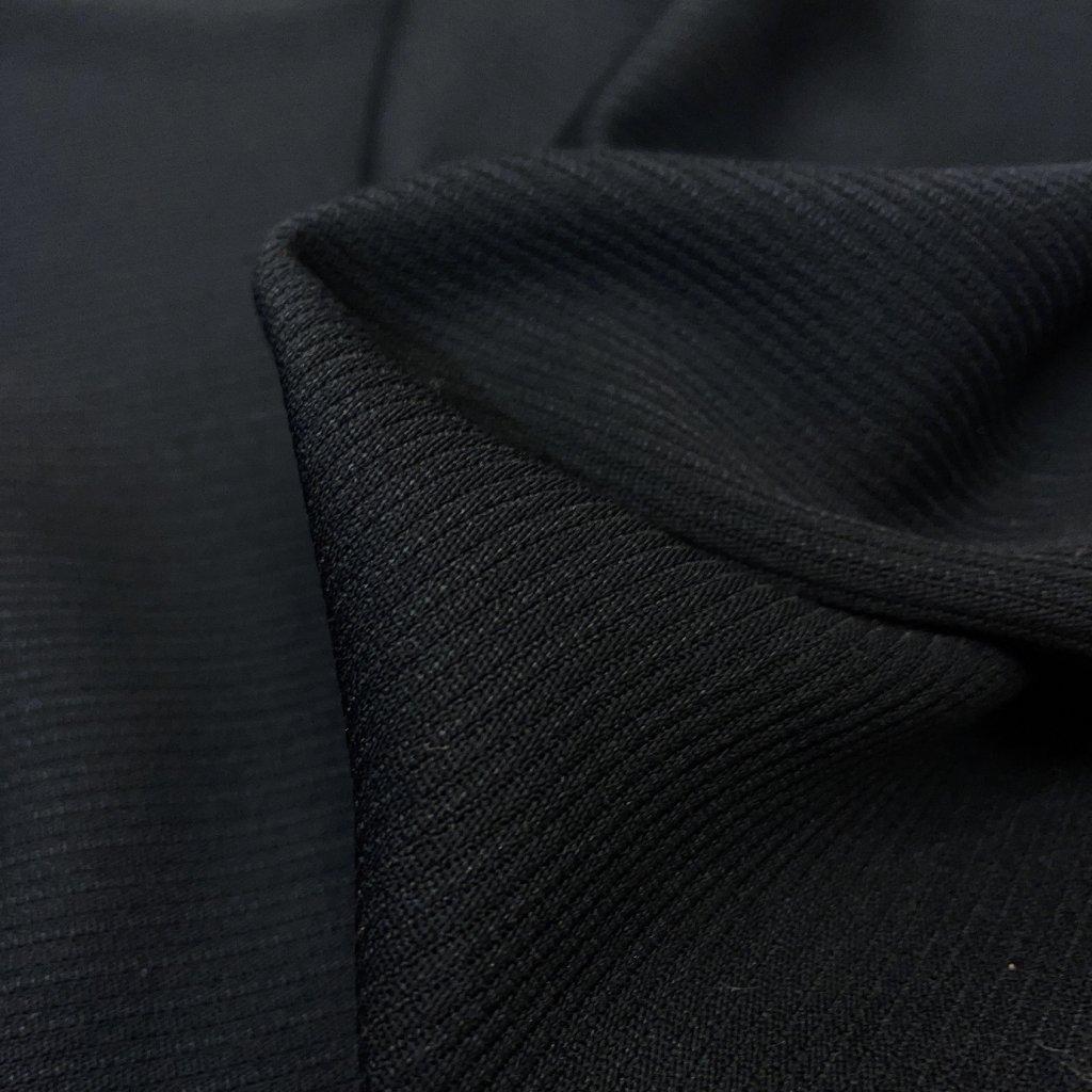 Polyester, kostýmovka drobný proužek, černá