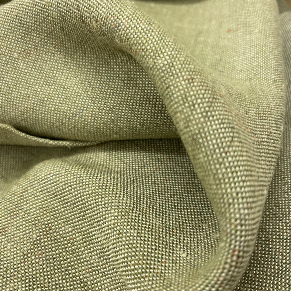 Len polyester, béžovo/zelené plátno