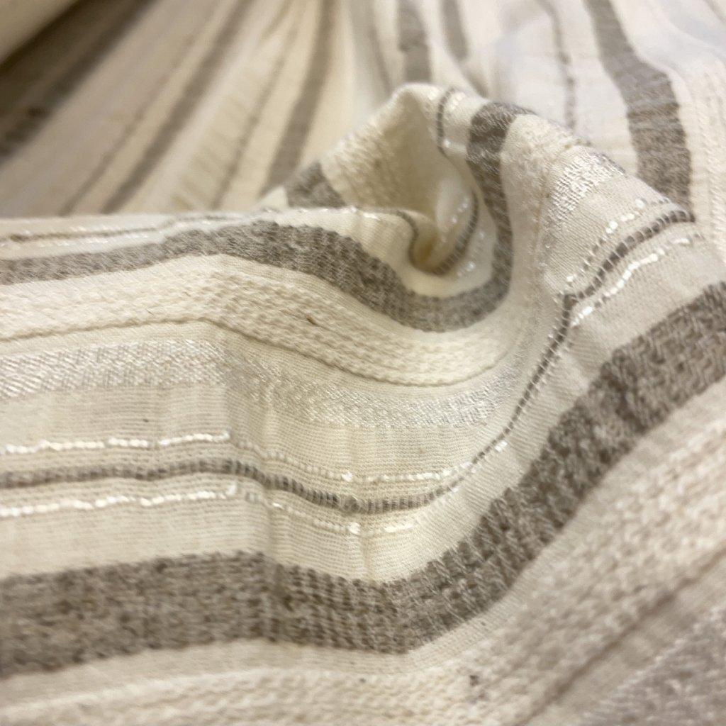 Bavlněná košilovka s příměsí lnu, béžový proužek