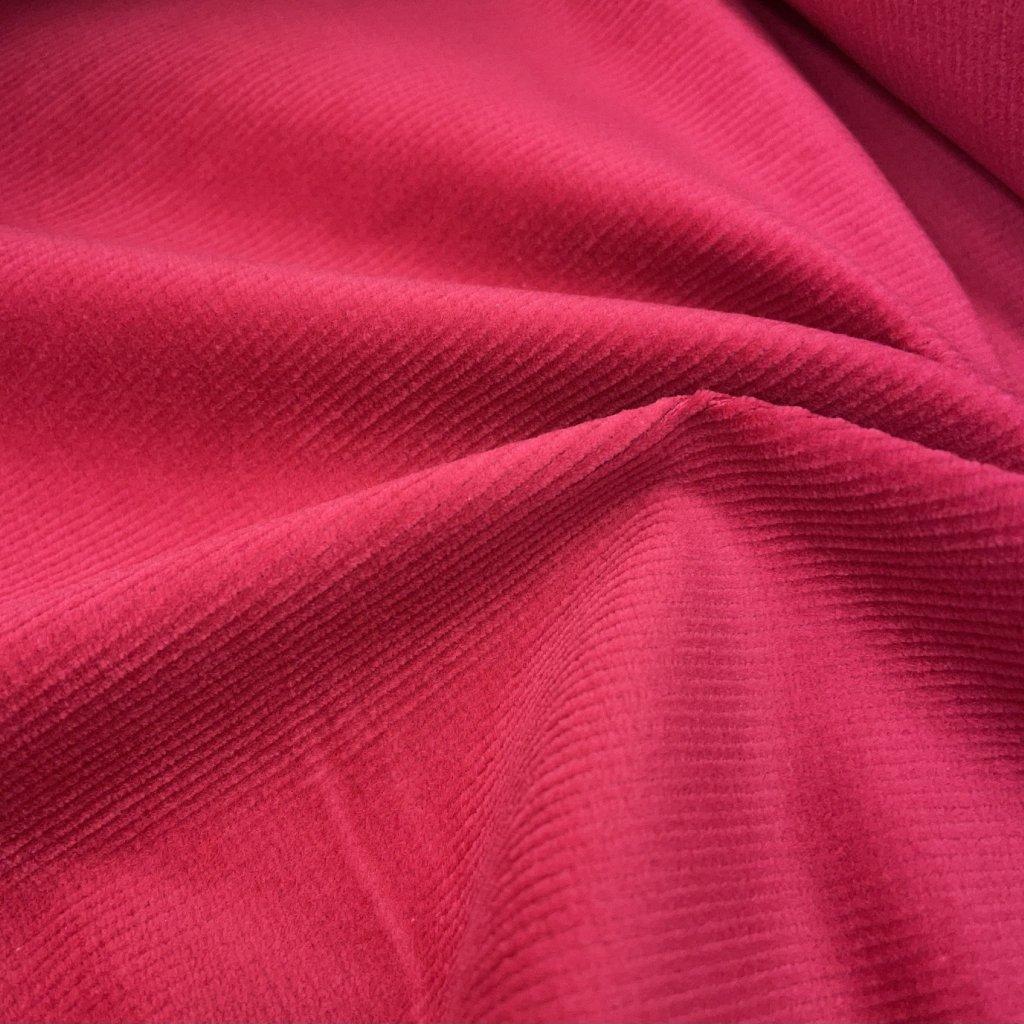 Výrazně růžový drobný manšestr/ prací kord Tiba