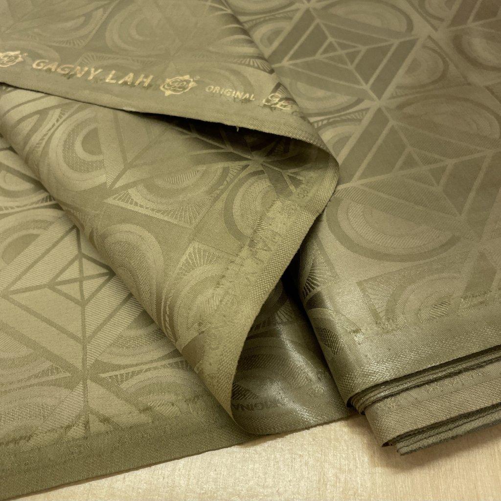 Voňavý khaki damašek, geometrický, bavlna