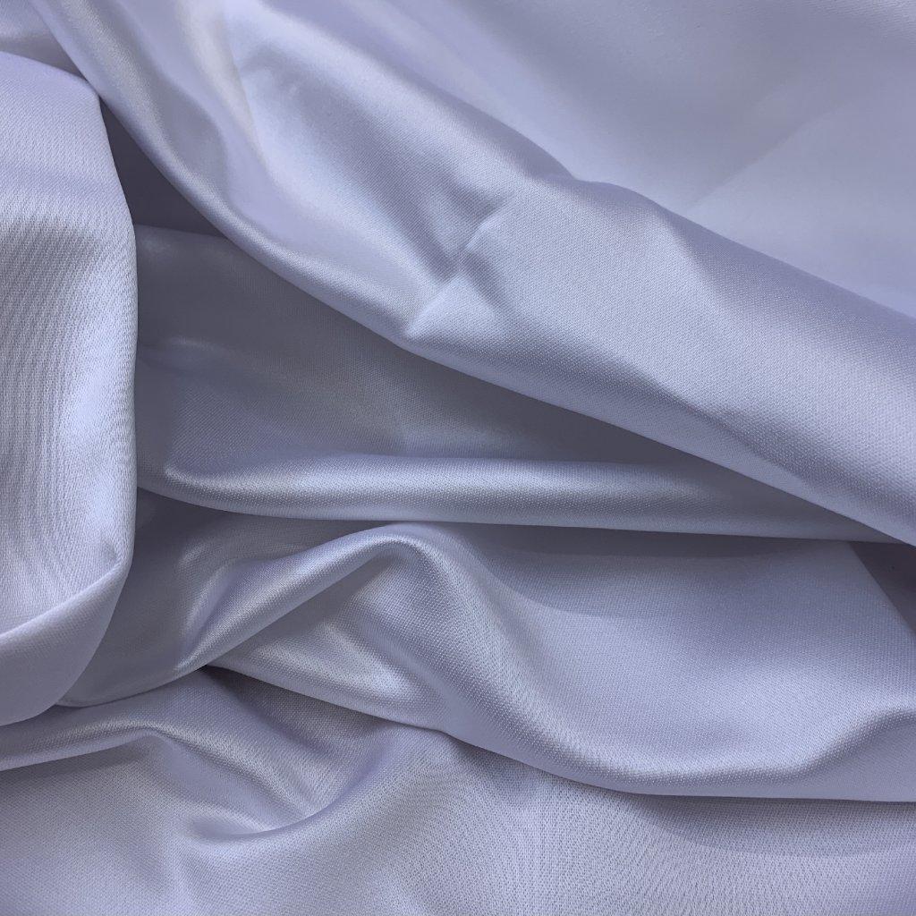 Bílý bytový satén těžký, syntetická vlákna