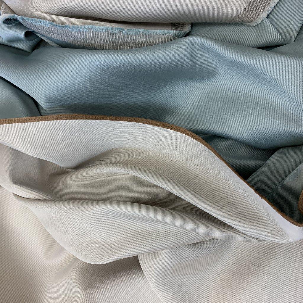 Modro/béžový bytový satén, oboulíc, syntetická vlákna