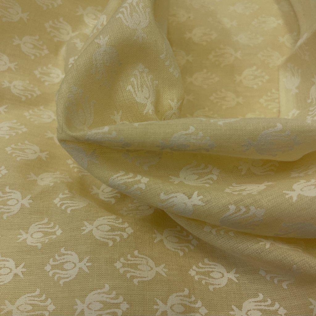 Jain&Kriz ručně tištěné bavlněné plátno Beige