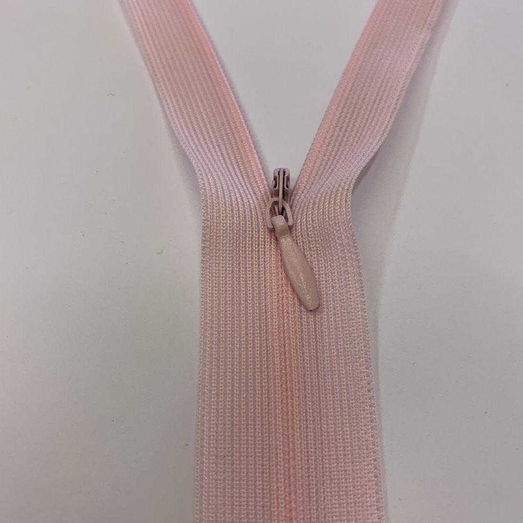 Skrytý zip růžový 24CM