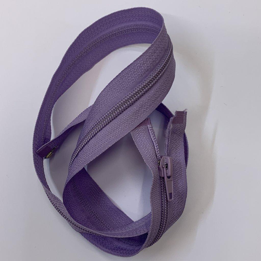 Rozevírací zip lila