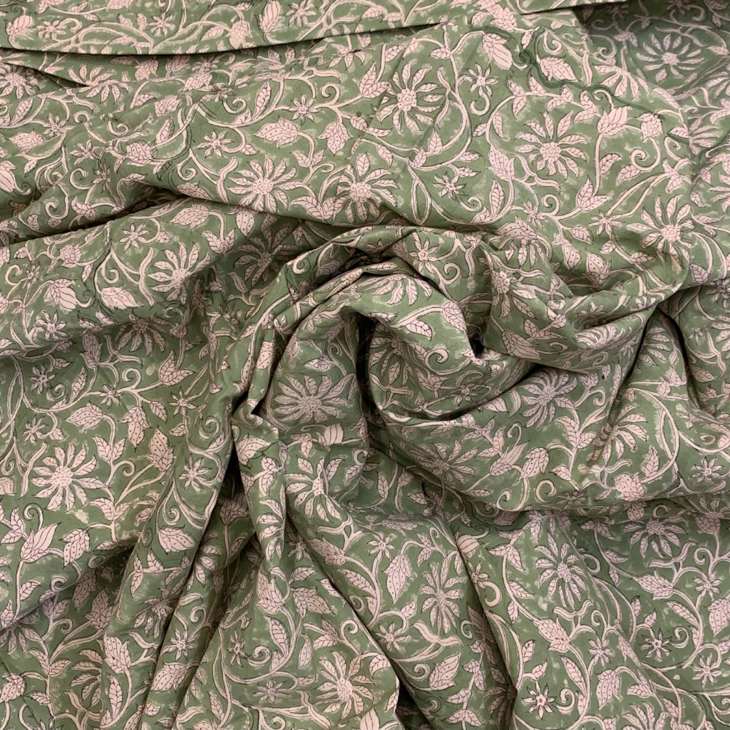Jain&Kriz ručně tištěné bavlněné plátno Flowers Green 2