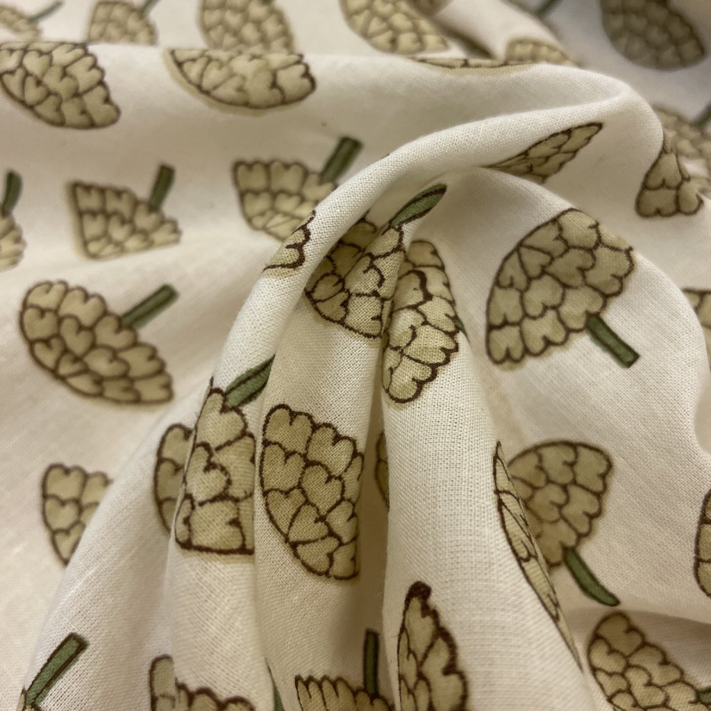 Jain & Kriz ručně tištené bavlněné plátno Mushru, krémová