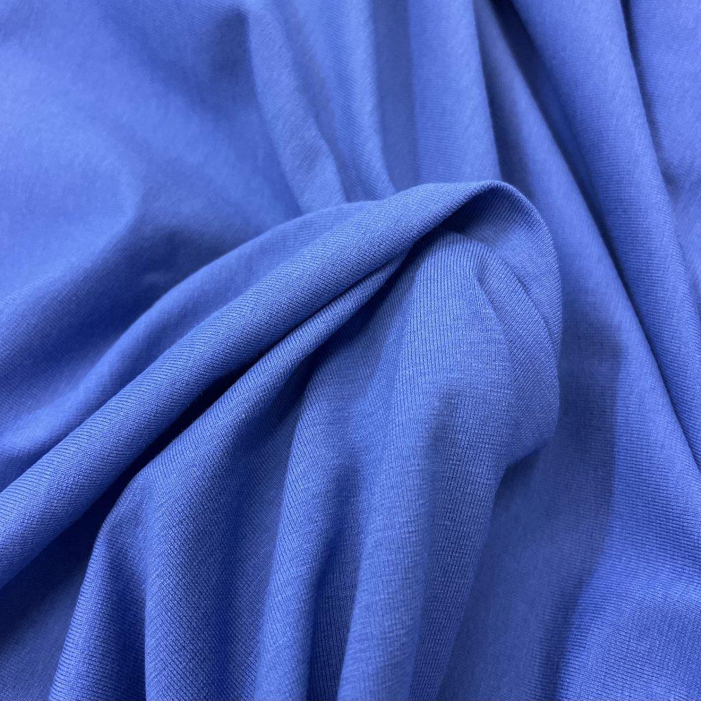 Tričkový úplet, bavlna+elastan, modrý
