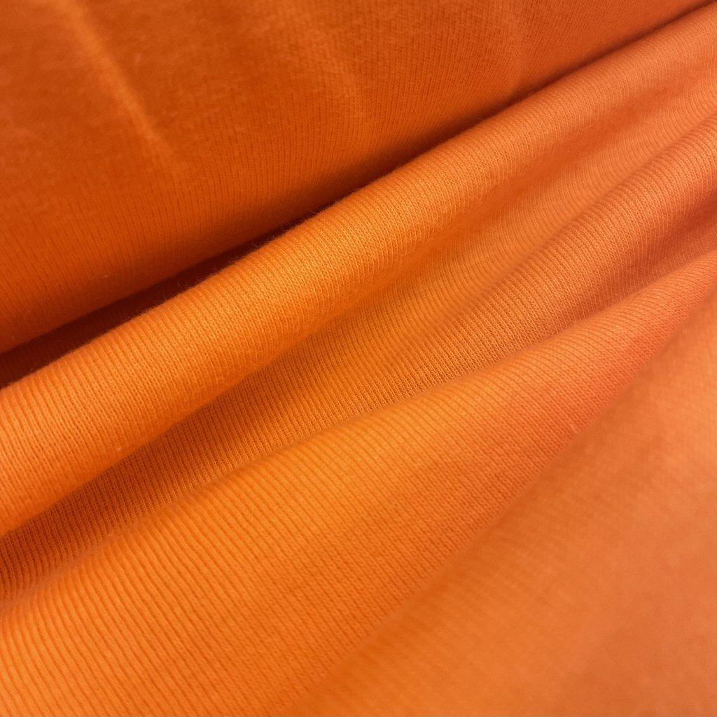 Oranžový bavlněný úplet, tričkový, lehký