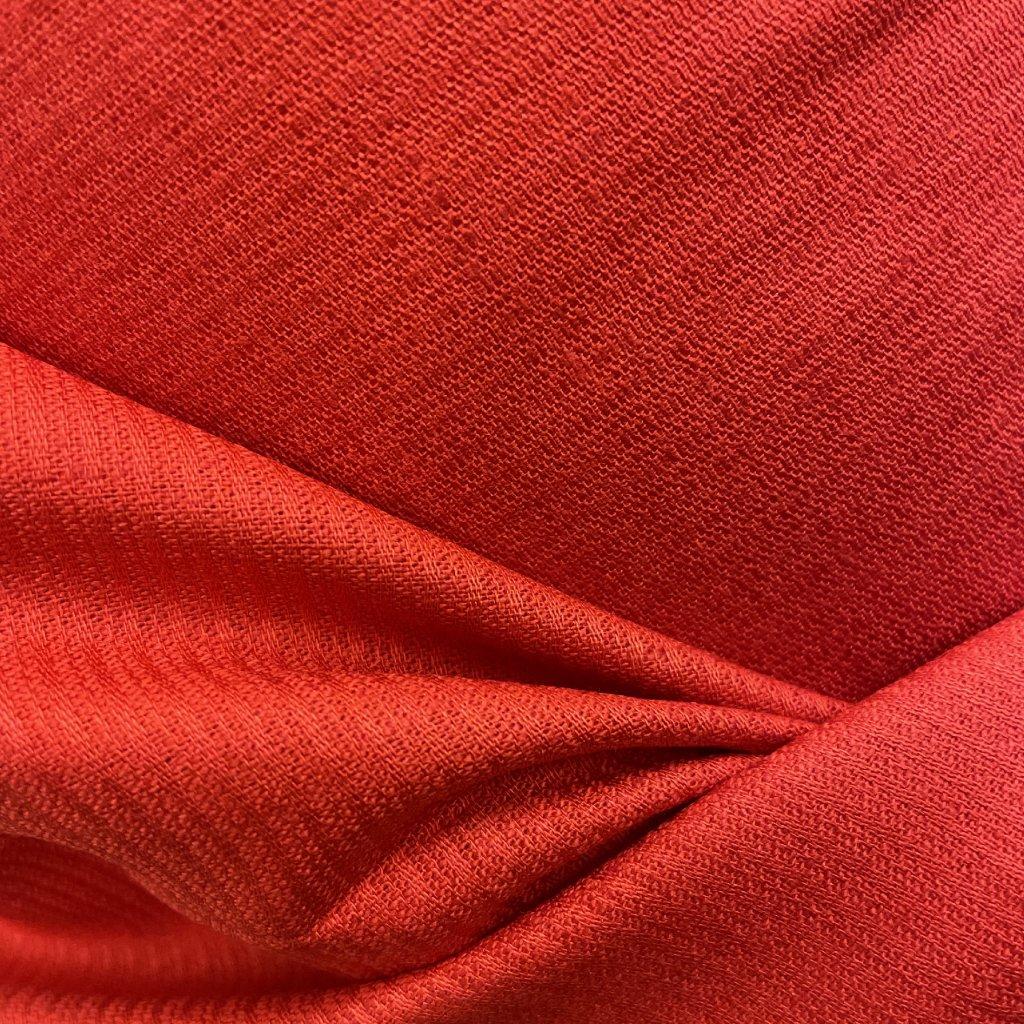 Červené košilové plátno viskóza se lnem, jemný proužek