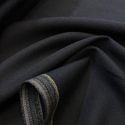 Vlna/polyester černý oblekový kepr, Oeko-Tex standard 100, made in Slovakia