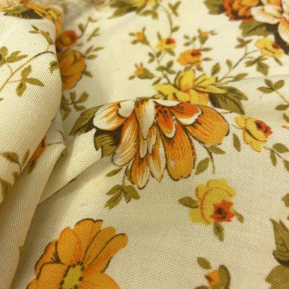 Česká předzahrádka, květované žluté plátno, bavlna