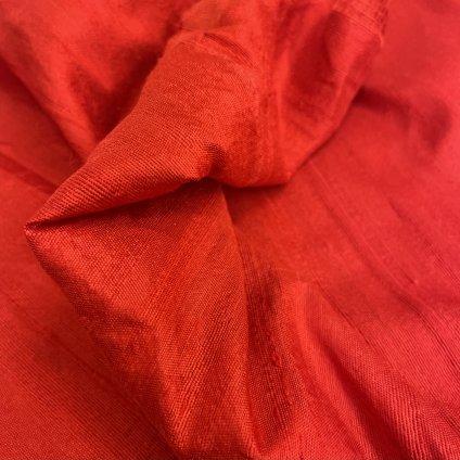 Jain&Kriz hedvábí Pure Red, dupion, ručně tkané