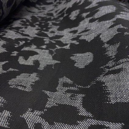 Košilový žakár, bavlna, květiny/šedá