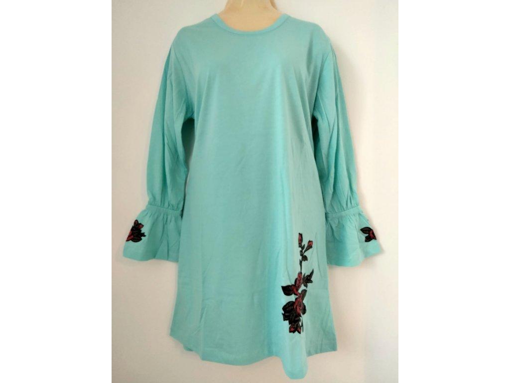 S2520 Coandin dámská noční košile dlouhý rukáv - tyrkysová