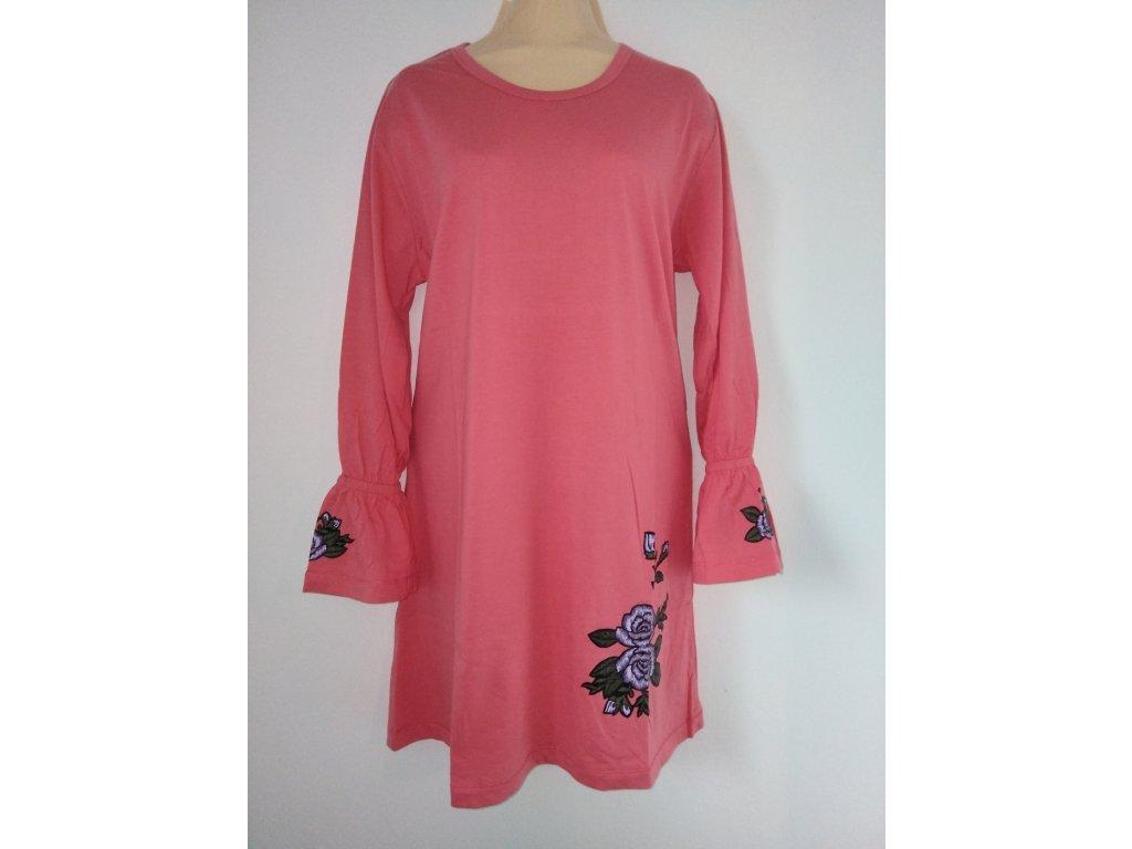 S2520 Coandin dámská noční košile dlouhý rukáv - lososová