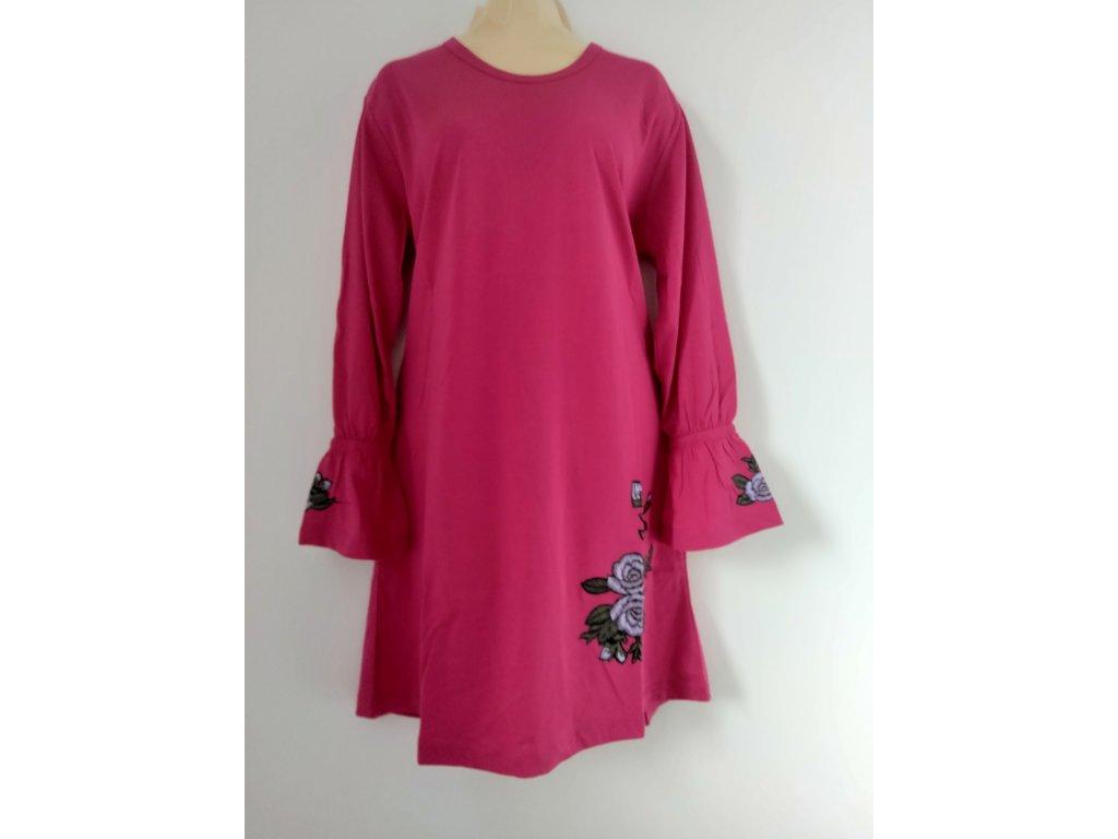 S2520 Coandin dámská noční košile dlouhý rukáv - sytě růžová