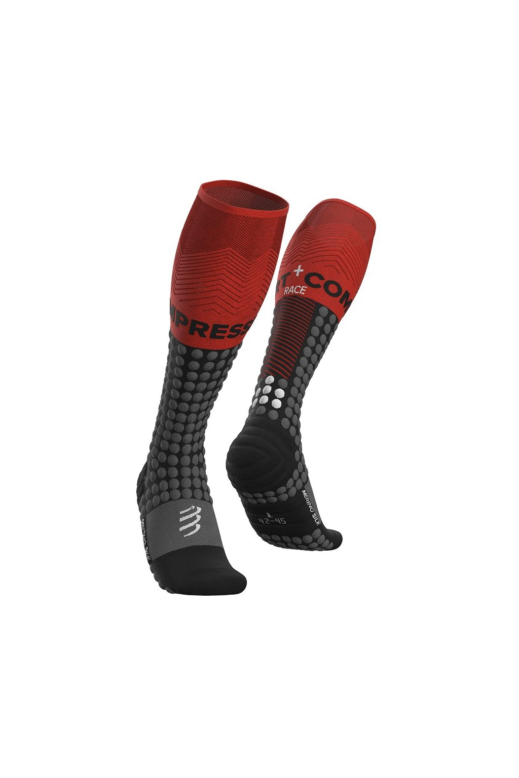 alpine ski racing full socks black red t1
