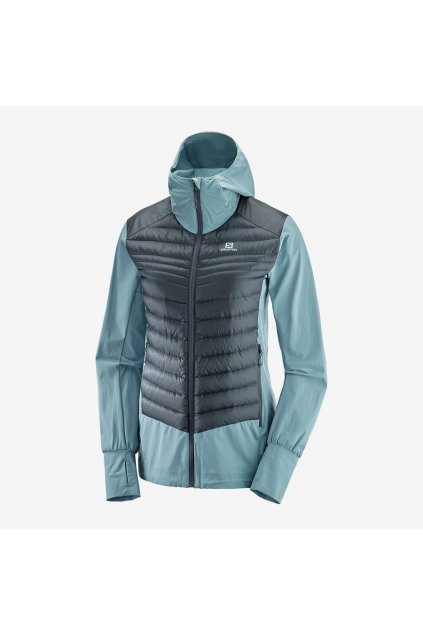 SALOMON HALOES DOWN HYBRID HOODIE SMOKE/ebony