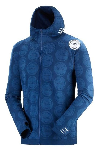 3d thermo seamless hoodie zip mont blanc 2020 blue l