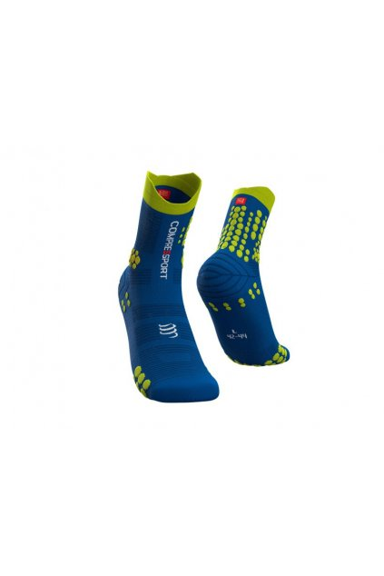trail running socks pro racing blue lime