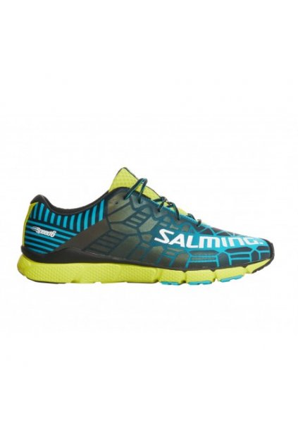 salming speed 6 shoe men blue lime 10 uk