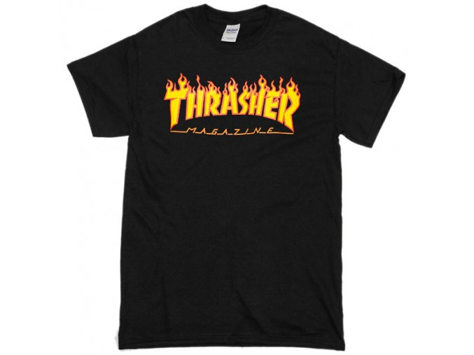 Thrasher Flame Logo Black T Shirt
