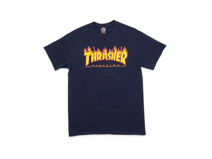 thrasher magazine t shirt flame blue navy