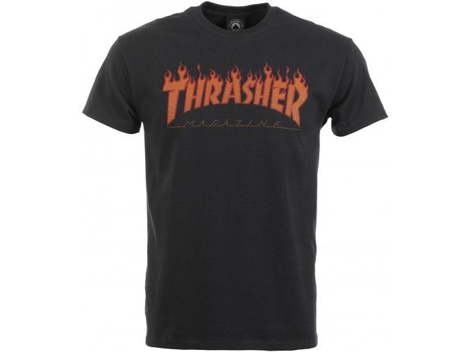 thrasher flame halftone t shirt black